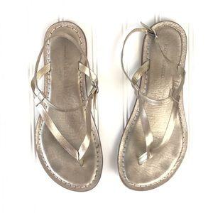 Anthro Bernardo Metallic Leather Strappy Sandals